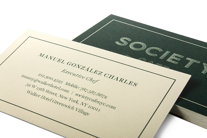 Society Cafe Business cards